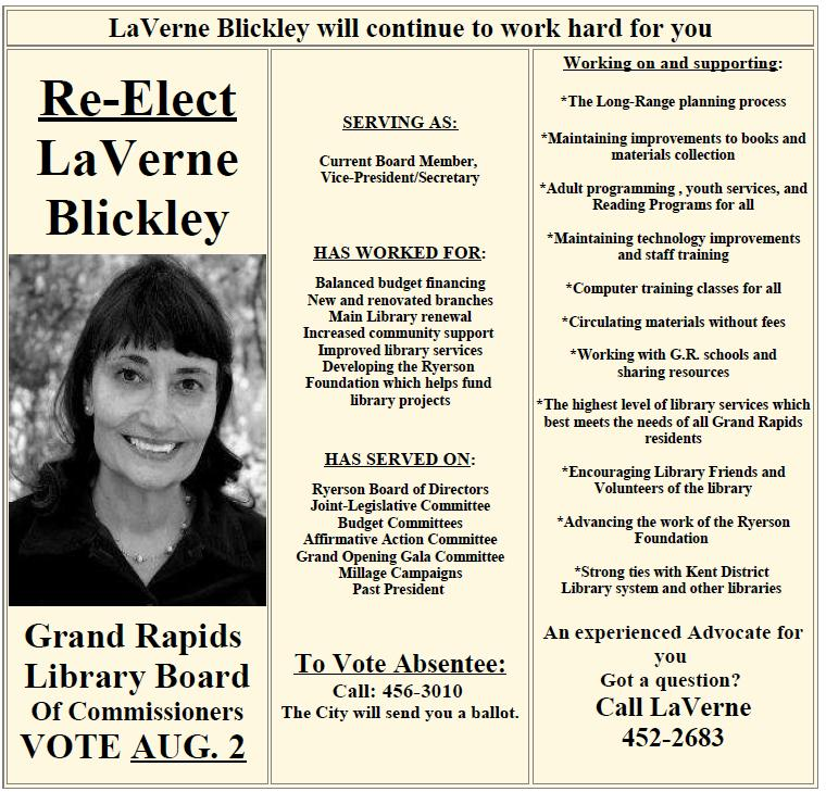 Laverne Blickley Election Brochure